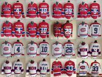 Vintage Montreal Canadiens 4 Jean Beliveau 9 Maurice Richard 10 Guy Lafleur 29 Ken Dryden 33 Patrick Roy Casa Vermelho Stitched Hockey Jersey
