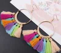 Bohemian Ethnic Gota Dangle franjas longa corda de algodão Brincos Borla na moda Sector Brincos para Mulheres moda jóias GA415