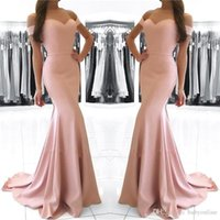 Cheap Blush Pink Mermaid Prom Dresses Long 2018 Off Shoulder...