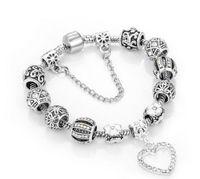 Gotea encanto pulseras de plata 925 pulsera aptos para la Loveheart colgante brazalete del encanto Trébol de cuatro hojas del grano de las mujeres como regalo de DIY joyería