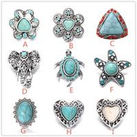 Noosa trozos de 9 estilos corazón Turquesa 18mm botones a presión para el botón a presión pulsera collar pendientes joyería