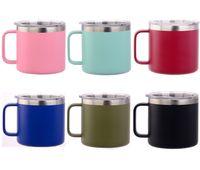 10 Farben 14 Unzen Edelstahl Kaffeetasse Vacuum Double-Layer-Bier-Becher Insulated 14 Unzen Cups mit Deckel 10-Farben durch DHL-freies Verschiffen
