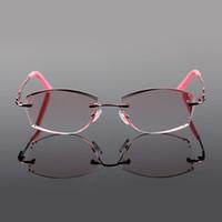 Очки для глаз роскошные горный хрусталь очки для чтения женщины алмазная резка очки без оправы высокий прозрачный женский розовый читатели Пресбиопический