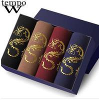 WTEMPO новый бренд нижнее белье мужские модальные боксеры дышащий удобный Дракон трусы мужчины дешевые шорты сексуальный гей боксер 4 шт. / лот