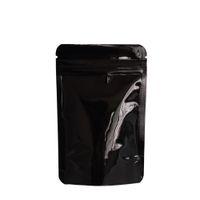 8.5 * 13 cm Preto Stand Up Saco De Embalagem De Folha De Alumínio 100 pçs / lote Doypack Zip Lock Embalagem De Café Feijão Mylar Bolsa À Prova D 'Água sacos de Zíper