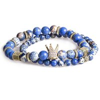 2 قطعة / المجموعة الخرزة سوار تاج سحر الإسورة الطبيعية الأزرق الإمبراطور ستون beadsbuddha سوار للنساء والرجال أساور الذكور