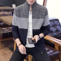 Outono Inverno Dos Homens Quentes Cardigan Sweatercoat Casual Solto Stand Pescoço Camisolas de Lã Casaco Homem Zíper Grosso Knittwear Plus Size