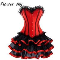 Corset + falda de encaje Sexy Women Corset y Bustier Burlesque Party dress Vestido gótico Sexy Lace Waist Trainer Red Set