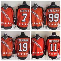 1984 كامبل جميع نجوم اللعبة 19 ستيف ايزرمان 11 مارك ميسير 99 اين Gretzky 7 بول كوفي هوكي الفانيلة البرتقالية مخيط القمصان