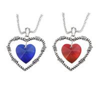 Amor de coração diamante titanic colar colar de corrente de cristal de safira jack e rosa colar de memória azul vermelho diamante duplo coração pingente