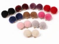 100Pcs / lot Fur Ball Beads Charms Fashion Fur Covered Perlen Schmuck Anhänger Ohrringe gemacht DIY Schmuck Armband machen Erkenntnisse 15mm