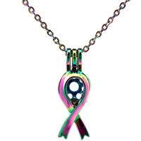 C285 COLORS Cáncer Concienciación de la Pecho Cinta Signo Collar de Acero Perlas Perla Jaula- Suerte Regalo Difusor de Aceites Esenciales
