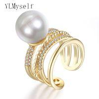 Nuovo anello color oro con grandi gioielli economici di perle alla moda all'ingrosso lotti dropshipping anel aneis anelli gioielli di moda in rame