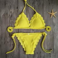 Bikini Femme Sexy String Bandage Donna Costume da bagno Lady Swimwear Mujer Costume Da Bagno Donna Floral Pizzo Due pezzi Suit 20dx V