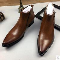 Botas altas de cuero para hombres Botas de invierno Botines de trabajo para hombres con punta estrecha Hombre Botas Oxfords de boda negras amarillas Botas tácticas