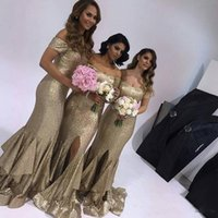 2018 Beling Bling Split Gold Sequins Mermaid Bridesmaid Dres...