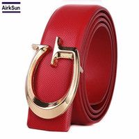 2018 brand designer women belt, fashion letter smooth buckle...