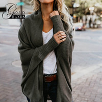 Autumn Winter Women Bat Sleeve Loose Knitted Cardigan Sweate...