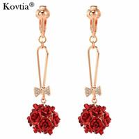 Charm Bride Wedding Rose Flower Hanger Clip Earring Without Piercing Red Ear Cuff Long Earring Clip On For Women
