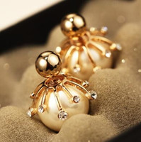 Big Pearl Stud Earrings for Women Fashion Jewelry Gold   Pla...