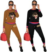 tiger head women two piece outfits hoodie leggings tracksuit...