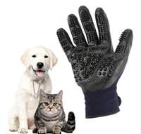 Husdjur grooming handskar hund katt hår rengöring borste kam svart gummi fem fingrar deshedding husdjur handskar för hund katter djur