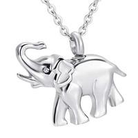 Memorial lembrança urna pingente de cremação de cinzas urna charme colar de jóias em aço inoxidável bonito elefante memória medalhão - pai e mãe