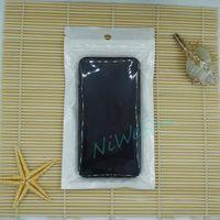 12x20 cm 100 pçs / lote Frente transparente BOPP Pearl film ziplock saco-branco lucency pearlised pacote de filme caixa do telefone embalagem sachê zipper selo