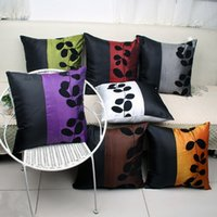 Estuche de almohada de bloqueo de color caliente 45 cm Flocado Fundas de almohada de seda como hojas Impreso Fundas de cojín para sofá cama Coche EMS GRATIS