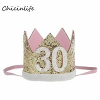 Chicinlife 1pcs 30 Crown Headband Women 30th Birthday Party Decoration Compleanno per adulti Cappello Compleanno Forniture