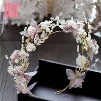 Muhteşem Pembe Kristaller Çiçekler Düğün Kafa El Yapımı İnciler Gelin Taç Tiara Lady Hairbands Bohemia Gelin Saç Aksesuarları