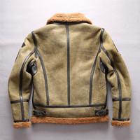 Exército B3 verde gola do casaco da força aérea vôo Cordeiro pele jaquetas de couro AVIREXFLY verdadeira dupla rosto pele forro de pele de carneiro jaquetas de couro