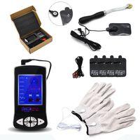 4in1 электрошок перчатки с массажным колесом и колодки массажер колесо прокрутки электрод патч секс-игрушки для мужчин I9-1-215