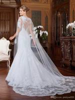 2019 뜨거운 판매 흰색 또는 아이보리 레이스 망토 랩 아플리케 레이스 웨딩 자켓 신부 망토 레이스 신부 드레스의 케이프
