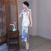 Neue chinesische Cheongsam 2020 weiche atmungsaktive High Neck Traditionelle QiPao Mantel Sexy Split formale Kleider für Frauen