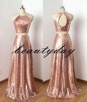Rose Gold Lantejoulas Dridesmaid Vestidos Custom Custom Feito de Casamento Vestido de Convidado Duas Peças Keyhole Back Junior Doméstica de Honra Vestido formal