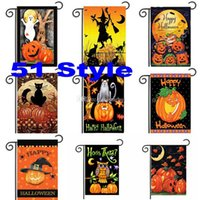 30 * 45 cm Halloween Drapeaux De Jardin Citrouille Fantôme Fête Home Decor En Plein Air Suspendus Polyester Drapeaux De Jardin Halloween Décorations WX9-03