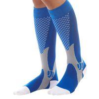 الرجال النساء الساق دعم تمتد الرياضة في الهواء الطلق الجوارب الركبة عالية ضغط للجنسين تشغيل الجليد الجوارب