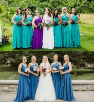 2019 Turquoise Bridesmaid Dresses Sexy One Shoulder Ruched A...