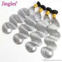 Ombre Human Hair Extensions Body Wave 1B Grey Ombre Body Wav...