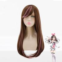 Parrucca Kizuna AI Cosplay 60cm Lungo rettilineo marrone misto rosa parrucche del partito delle donne