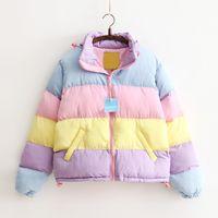 Winter New Jacke Regenbogen Splicing Farbe Pastell-Panel Puffer Mäntel für Frauen whole-Verkauf freies Verschiffen