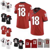 Personalizado 2018 Geórgia Bulldogs UGA 18 Isaac Nauta 5 Julian Rochester 4 Mecole Hardman Branco Vermelho Vermelho NCAA College Football Jersey