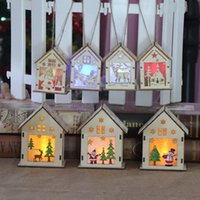 LED Wooden House Christmas Tree decoration Hanging Ornaments...