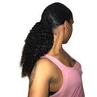 3B 3C Kinky Curly Ponytail Pour Femmes Remy Cheveux 1 Pièce Clip En Ponytails Extension Naturel Noir 100% Cheveux Humains