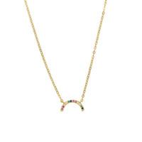 klassisches 925 Sterlilng Silber Regenbogen Halbmond Schmuck Multi CZ bunt CZ pflastern reizendes Mädchen Geschenk minimale Valentine Halskette