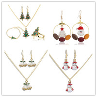 Creative women Christmas jewelry suit necklace earring brace...