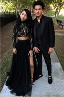 Two Pieces Long Sleeve Prom Dresses 2018 New Black Girl 2K18...