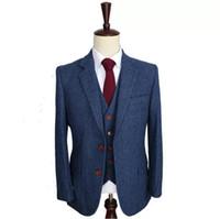 الصوف الأزرق الزفاف البدلات الرسمية herringbone الرجعية شهم نمط مخصص الرجال الدعاوى خياط البدلة السترة الدعاوى للرجال (سترة + سروال + سترة)