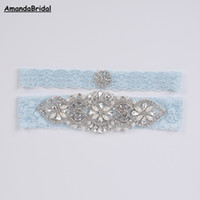 Amandabridal Bayan Düğün Aksesuarları Jartiyer El-boncuklu Sky Blue Dantel Gelin Jartiyer Couture İnci Kristal Rhinestone Setleri